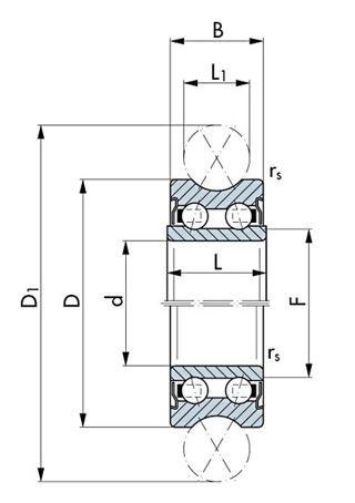 Wälzlager Chromstahl, Miniatur-Profillaufrollen, zweireihig